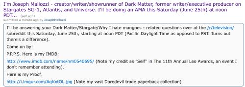 June 23, 2016: 8 Days To The Dark Matter Season 2 Premiere!