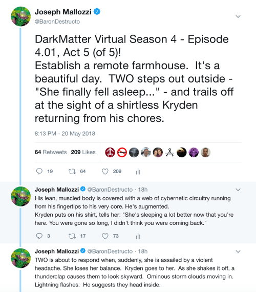May 21, 2018: Dark Matter Virtual Season 4 – Episode 4.01, Act 5 (of 5)!