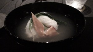 Soup of crab and root vegetable