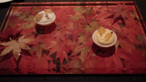 Apple and yuza desserts presented in an Autumn theme