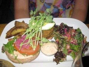 The quinoa nut burger platter