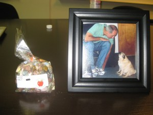 Chocolate rocks and framed pic of two of my faves (Carl and Jelly).