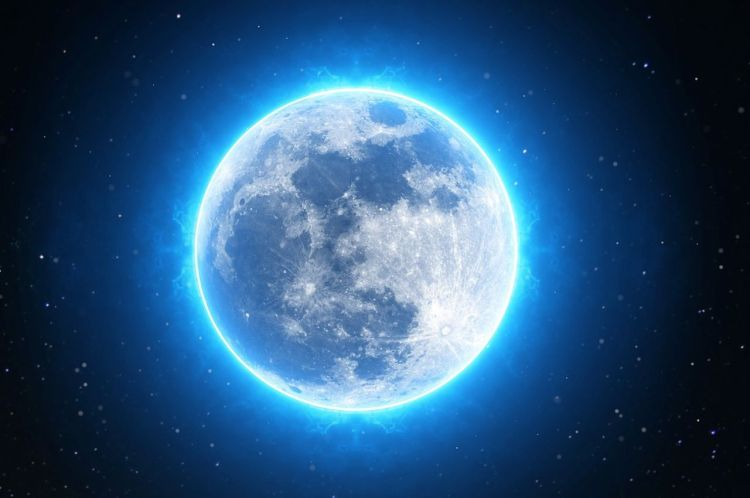 Moon rimmed with blue light