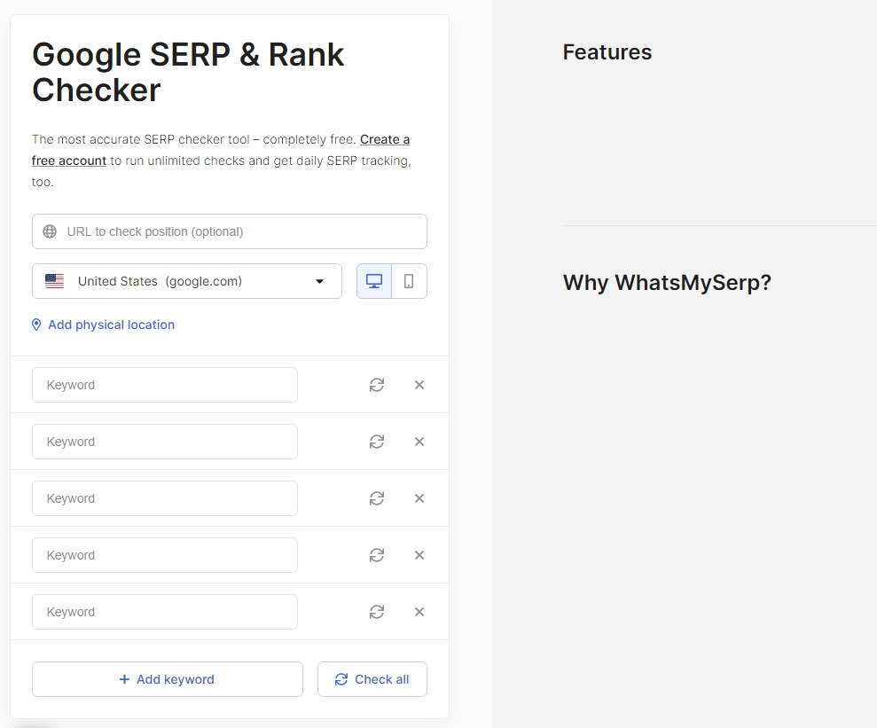 WhatsMySerp Google SERP & Rank Checker