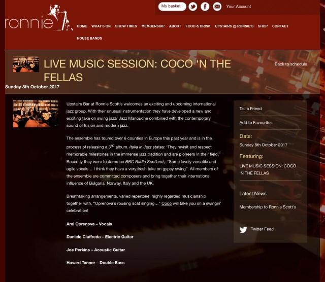 Coco 'n' the Fellas - Ronnie Scott's