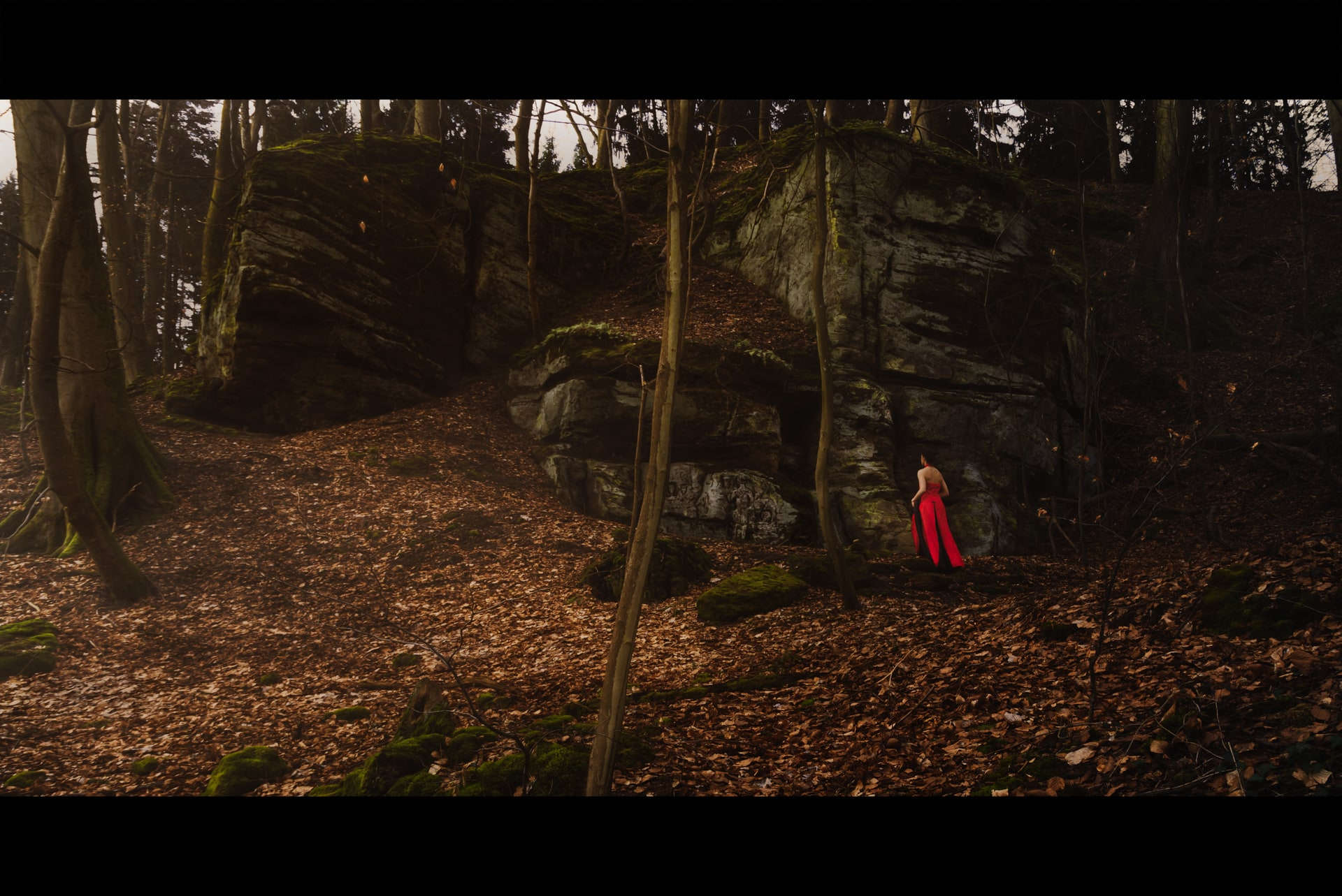 Portrait-Outdoor-Thionville-Red dress in forest-jpitois.fr-2-2