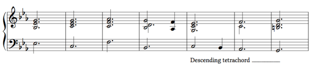Ex. 3c. The descending tetrachord starting on the submediant (C)