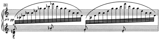 Ex. 5: Descending triad in the right hand. Bar 34