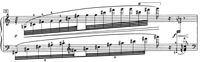 Ex. 4: One of the sweet sweeps in the middle of the piece. Bar 29