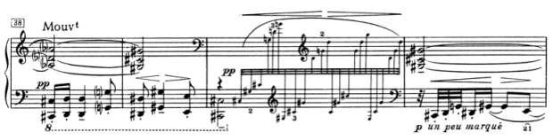 Ex. 6: Return of the contrasting melody. Bars 38-41