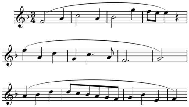 Four-bar phrases in Mozart's Sonata K. 332, movement 1.