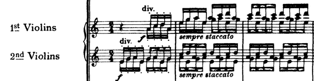The first two bars of Jupiter from Holst's Planets