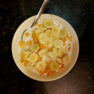 Corn flakes con platano