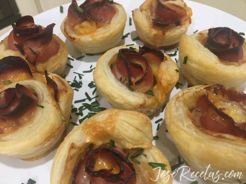 flores con bacon y queso