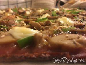 pizza veggie de lentejas