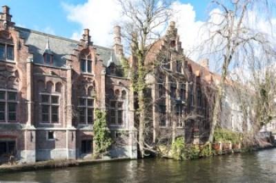 Belgium - Bruges canalside gothic architecture.