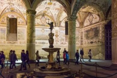 The interior courtyard of the Palazzo Vecchio.