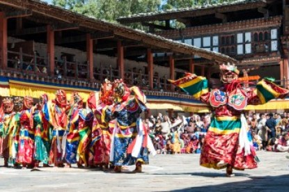 Bhutan - Cham dancers at Wangdi Dzong.