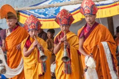 Bhutan - Musicans at the Tamshingphala Festival.