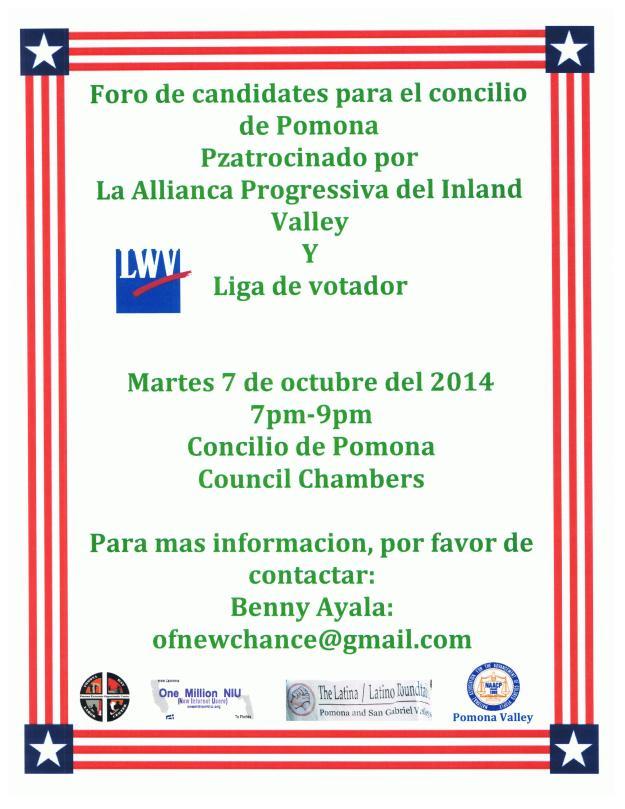 Pomona Candidates Forum Oct6th Spanish