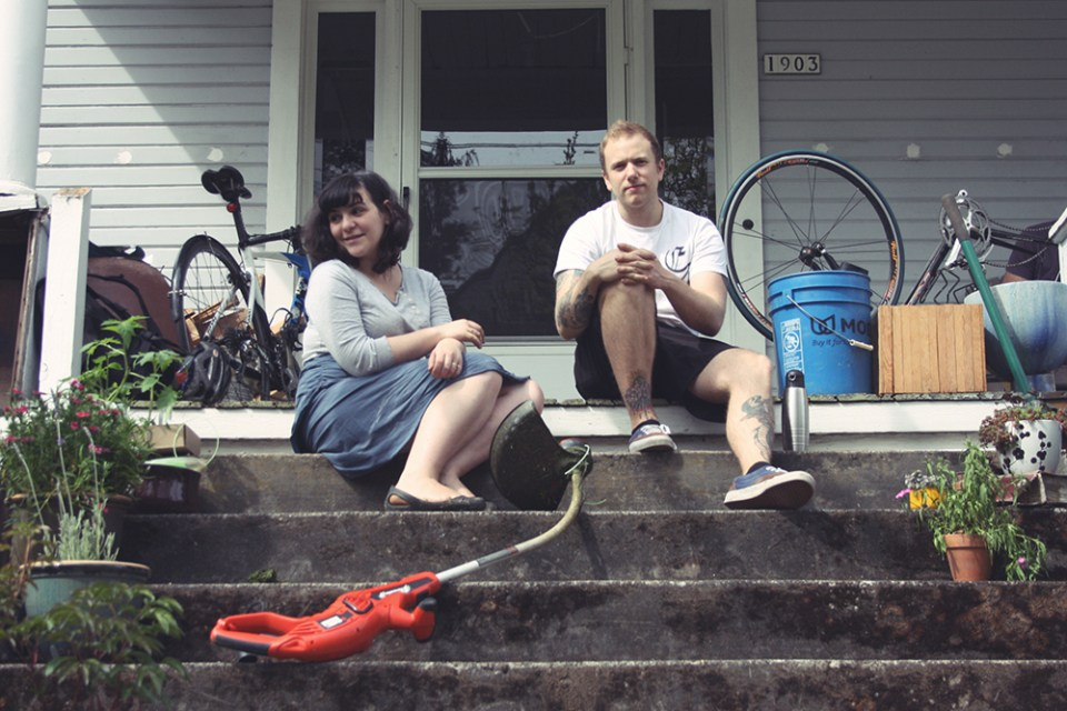 Yana and Jeremy after completing some weed whacking.