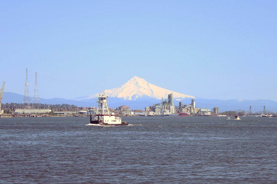 Mt Hood from Kelley Point in North Portland.