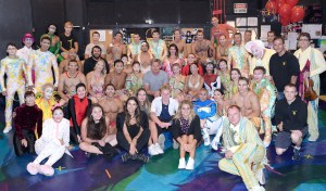 Gordon Ramsay and his family with the cast of Mystere by Cirque du Soleil, Aug. 11 (2)