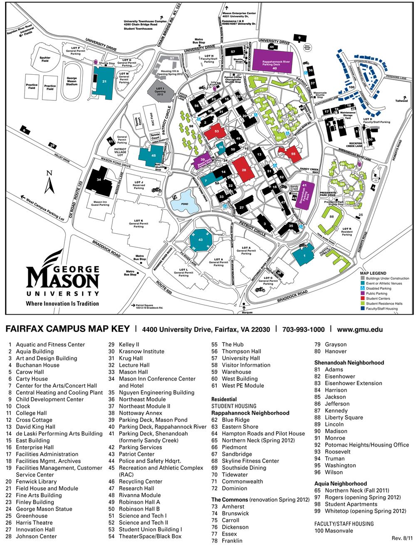 George Mason Campus Map : george, mason, campus, Current, Florida, George, Mason, University, Fairfax, Campus