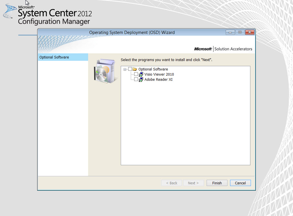 Integrate UDI with your SCCM task sequence for optional software