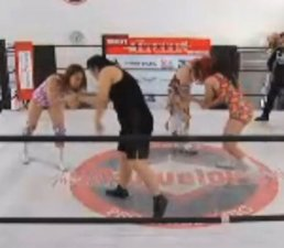 Hibiki and Mei Hoshizuki vs. Maria and Takumi Iroha