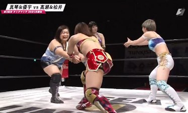 Makoto and Yuu vs. Misa Matsui and Miyuki Takase