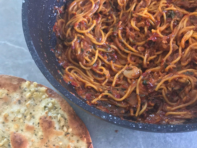Spaghetti Calabrese & Garlic Bread