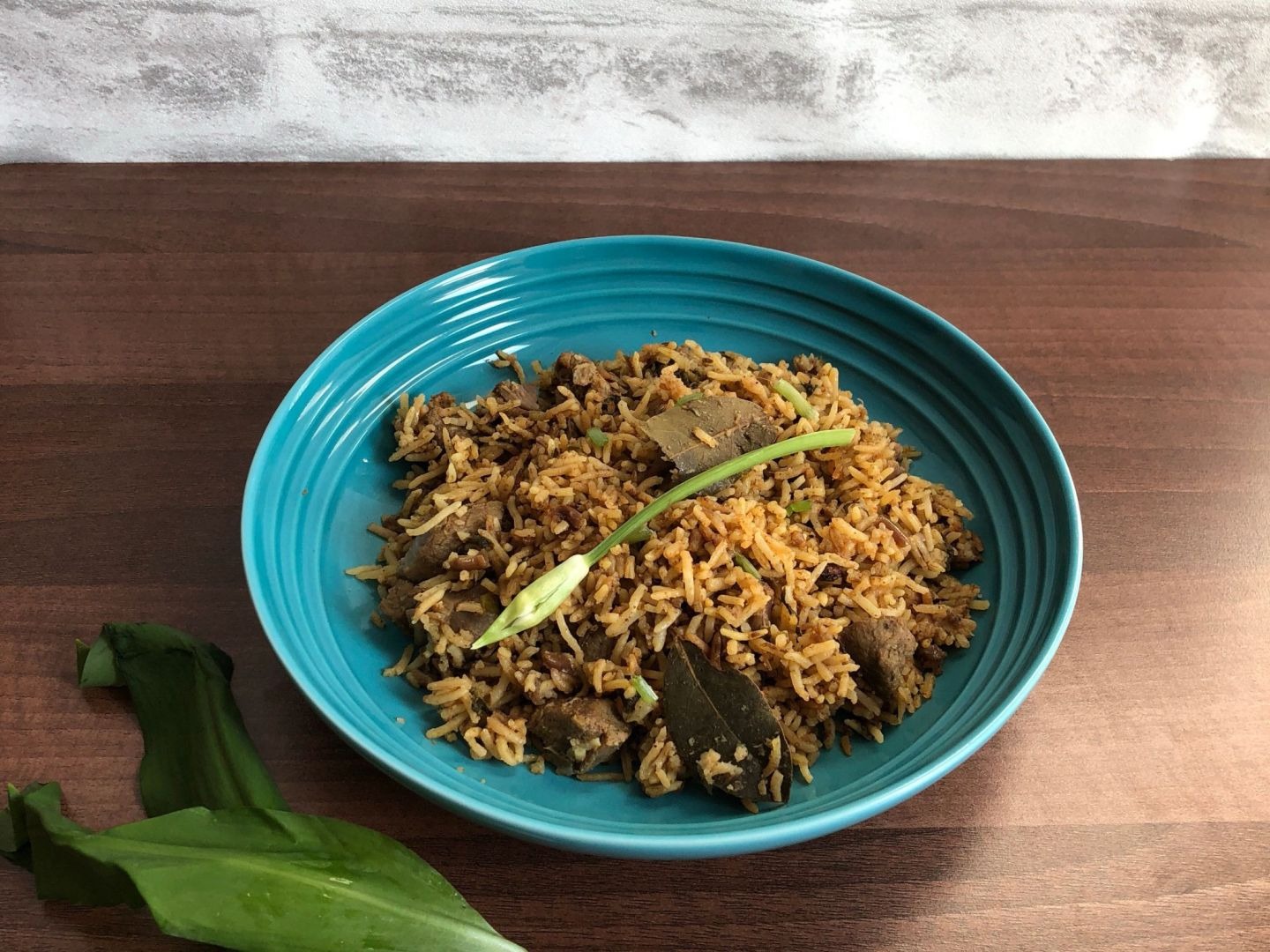 Wild garlic lamb pulao