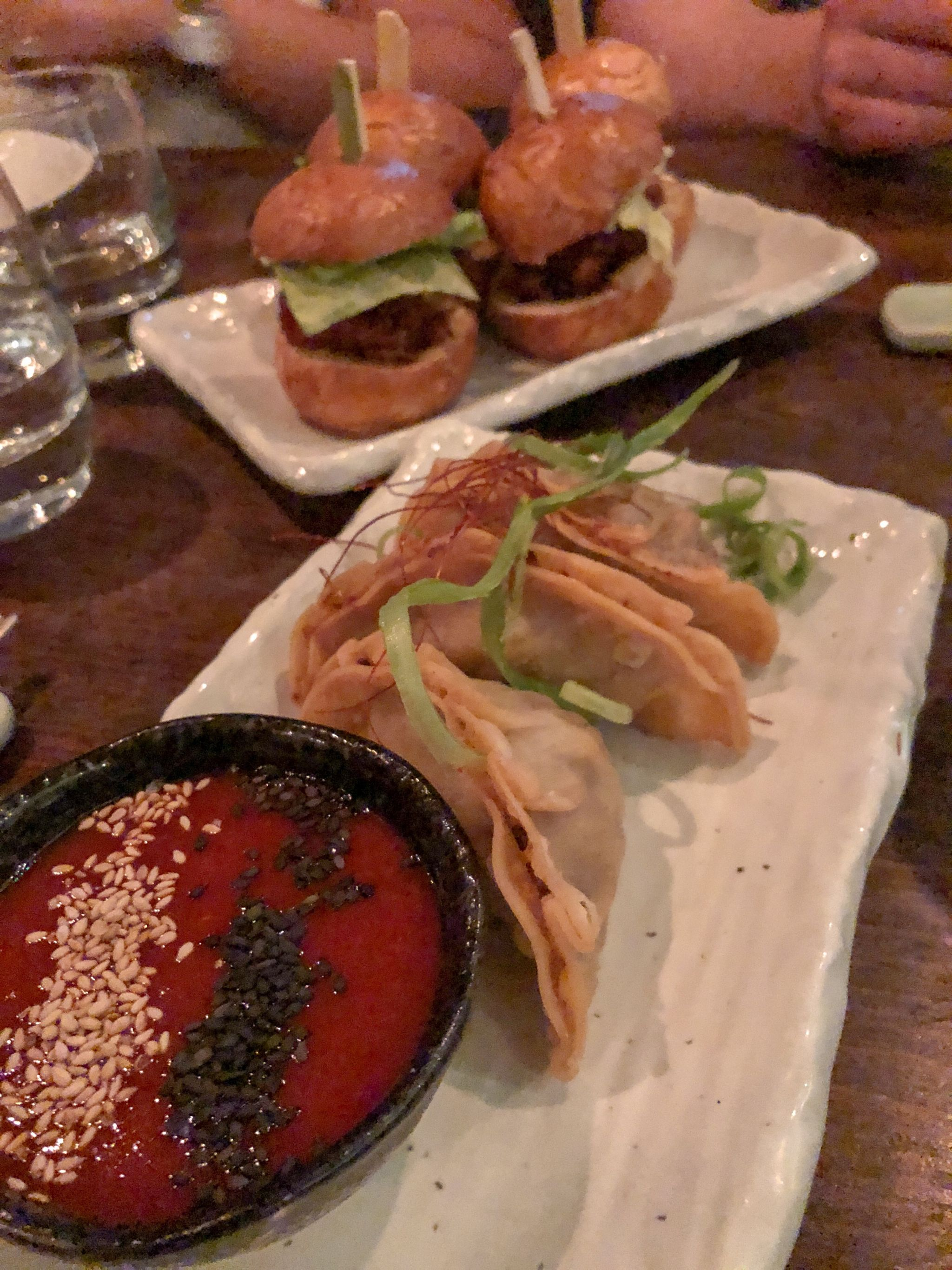 Gyoza and Fried Chicken Sliders