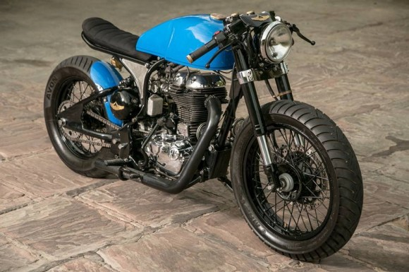 Cafe racer motorcycle in blue