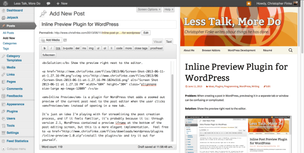 Screenshot of wordpress preview plugin