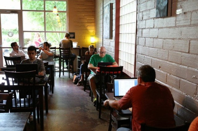 Company photoshoot at coffee shop