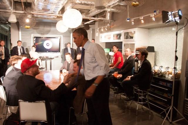Shaking President Obama's hand