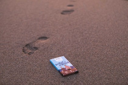 Chocolate bar on sunset beach