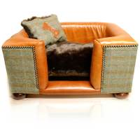 Luxury Tweed/Leather Dog Bed - Joshua Jones UK