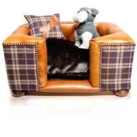 Luxury Tweed/Leather Dog Bed - Joshua Jones UK