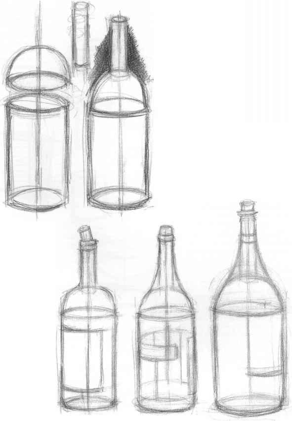 Wine Bottle Drawing Easy : bottle, drawing, Underdrawing, Seeing, Joshua