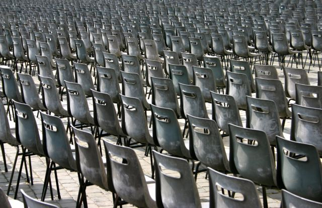 Sweeping pic of many empty chairs