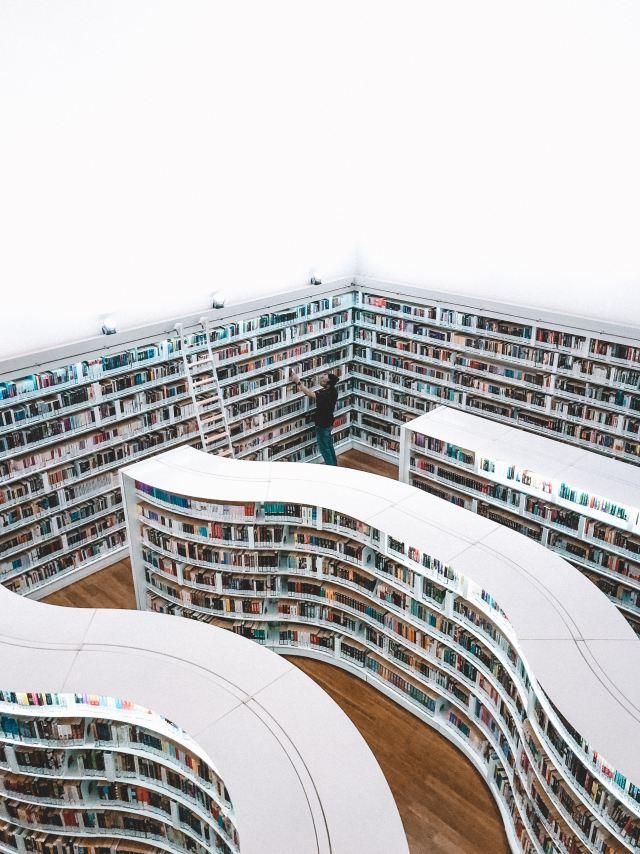overhead shot of shelves of books in library
