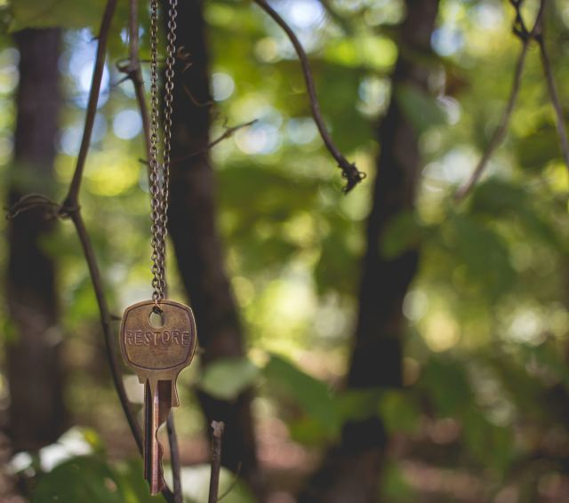 old-key-hanging-from-chain-in-tree
