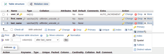 phpMyAdmin add unique constraint to existing column