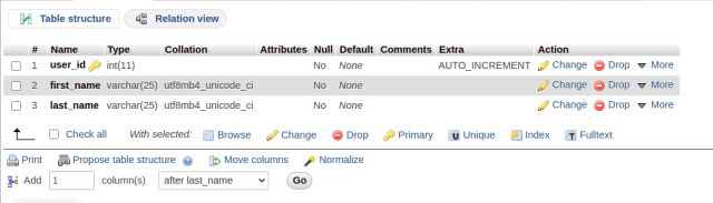 phpMyAdmin table columns and definition