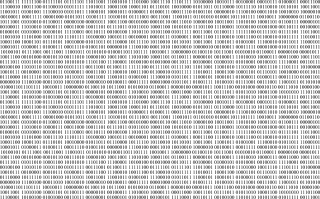 rows of binary numbers in columns