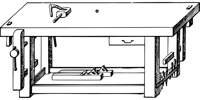 black and white drawing of a workbench
