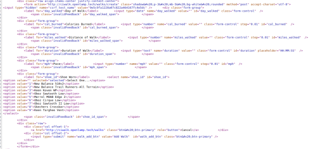html source code of codeigniter form helper method use